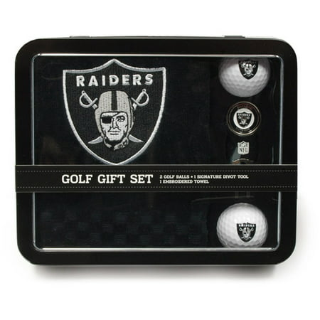 Team Golf NFL Oakland Raiders Embroidered Golf Towel, 2 Golf Balls and Divot Tool Set
