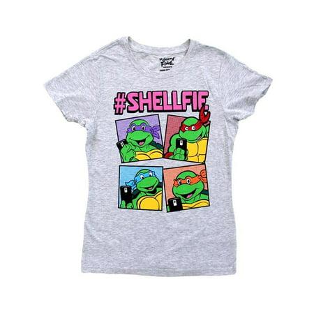Teenage Mutant Ninja Turtles Boxes Shellfie Juniors T-Shirt (Womens Ninja Turtle Shirt)