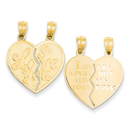 14k Yellow Gold I Love You Heart Break-a-Part Reversible Pendant