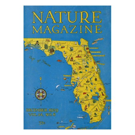 Map Of Florida Detailed.Nature Magazine Detailed Map Of Florida State With Scenic Spots To Visit C 1929 Print Wall Art By Lantern Press
