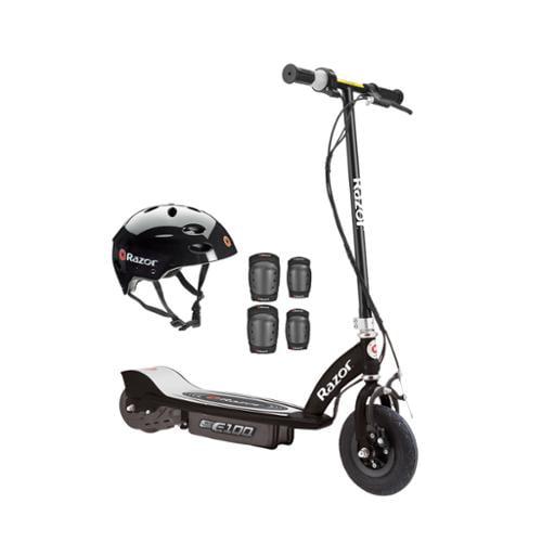 Razor E100 Motorized 24V Electric Powered Ride-On Scooter - Black w/Helmet Pads