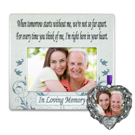 Memorial Frame and Ornament Set - When Tomorrow Starts Without Me Picture Frame and Photo Ornament - In Loving Memory Gift Set, REMEMBRANCE FRAME AND.., By Banberry Designs (Photo Frame Ornament)