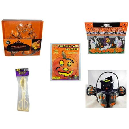 Halloween Fun Gift Bundle [5 Piece] - Wilton Autumn 8-Piece Cookie Cutter Set - Ghostly Magic Paper Trimmer 3.75 in x 9 ft. - Darice Pumpkin Face Fun Felt Kit - Stitches - Skeleton Server  - Plush B