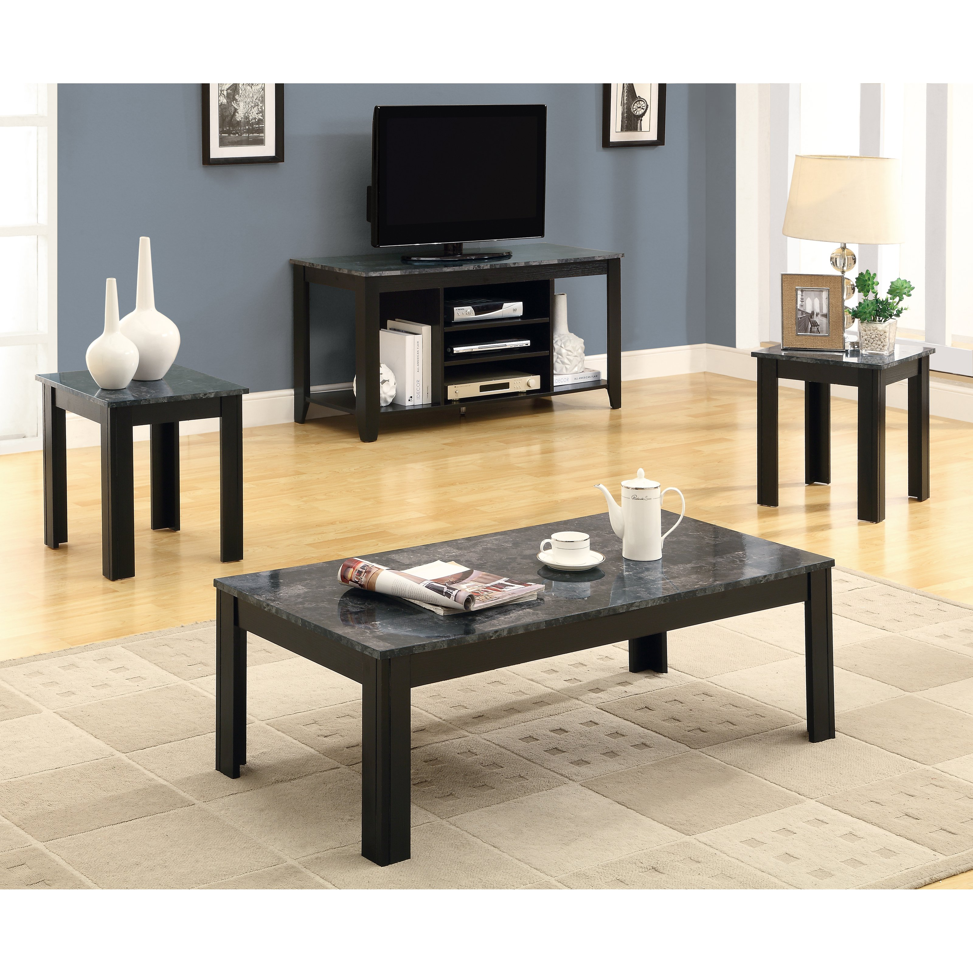 Monarch Specialties Black 3 Piece Coffee Table Set With Gray Faux Marble Top