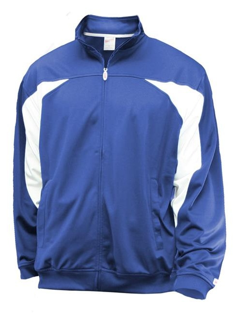 Soffe 3263V430SML Juniors Poly Brushed Tricot Jacket with White Splice Chest & Arm Inserts, Royal - Small