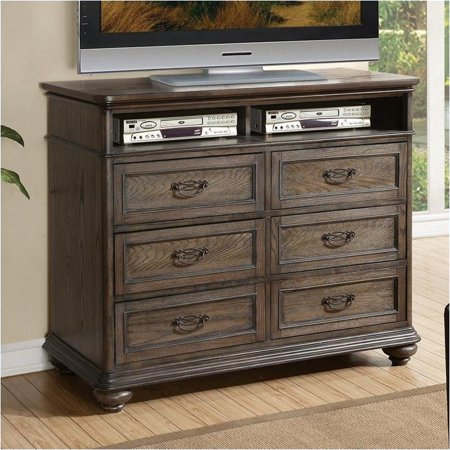 Beaumont lane entertainment media chest in old world oak for Q furniture beaumont
