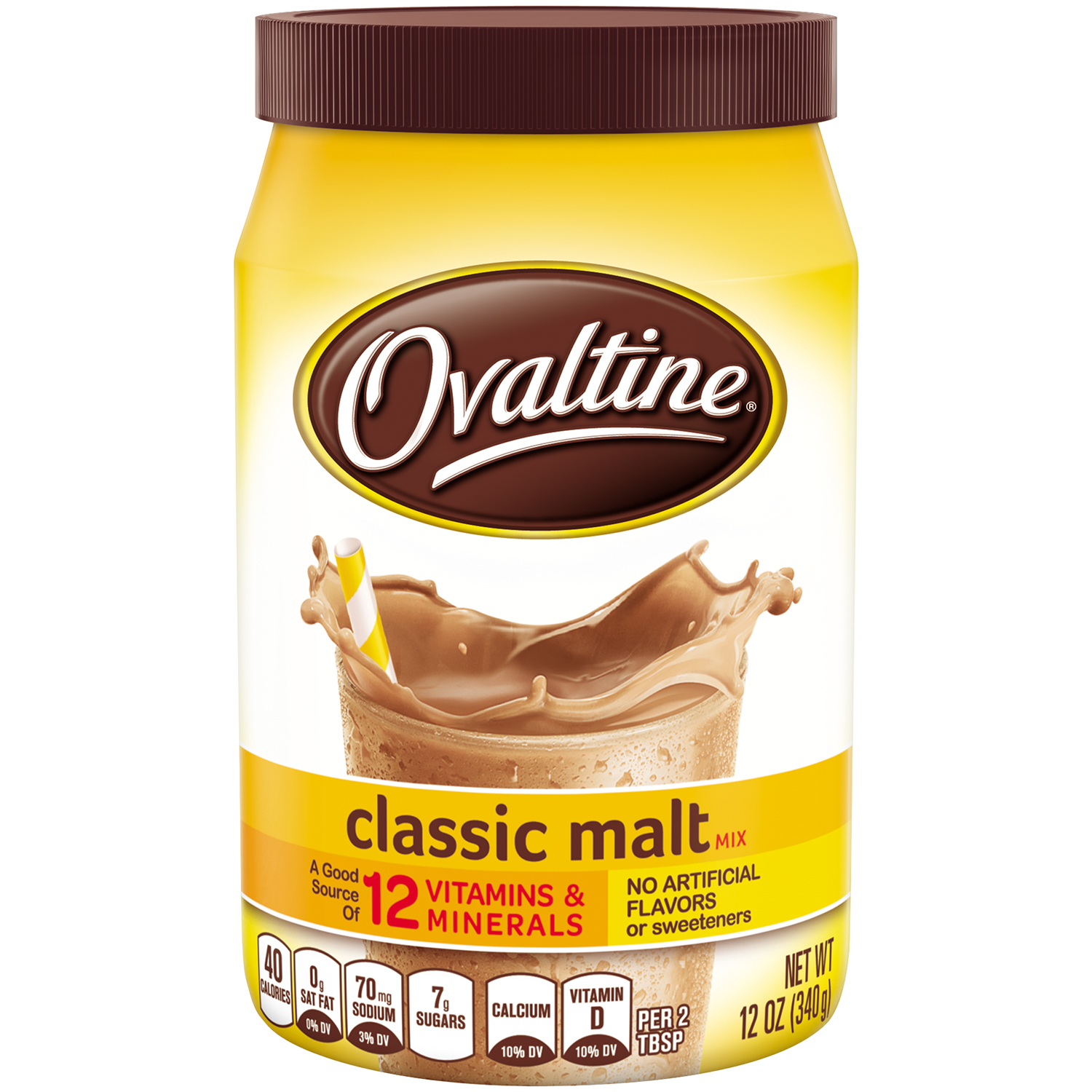 OVALTINE Classic Malt Flavored Milk Mix 12 oz. Canister