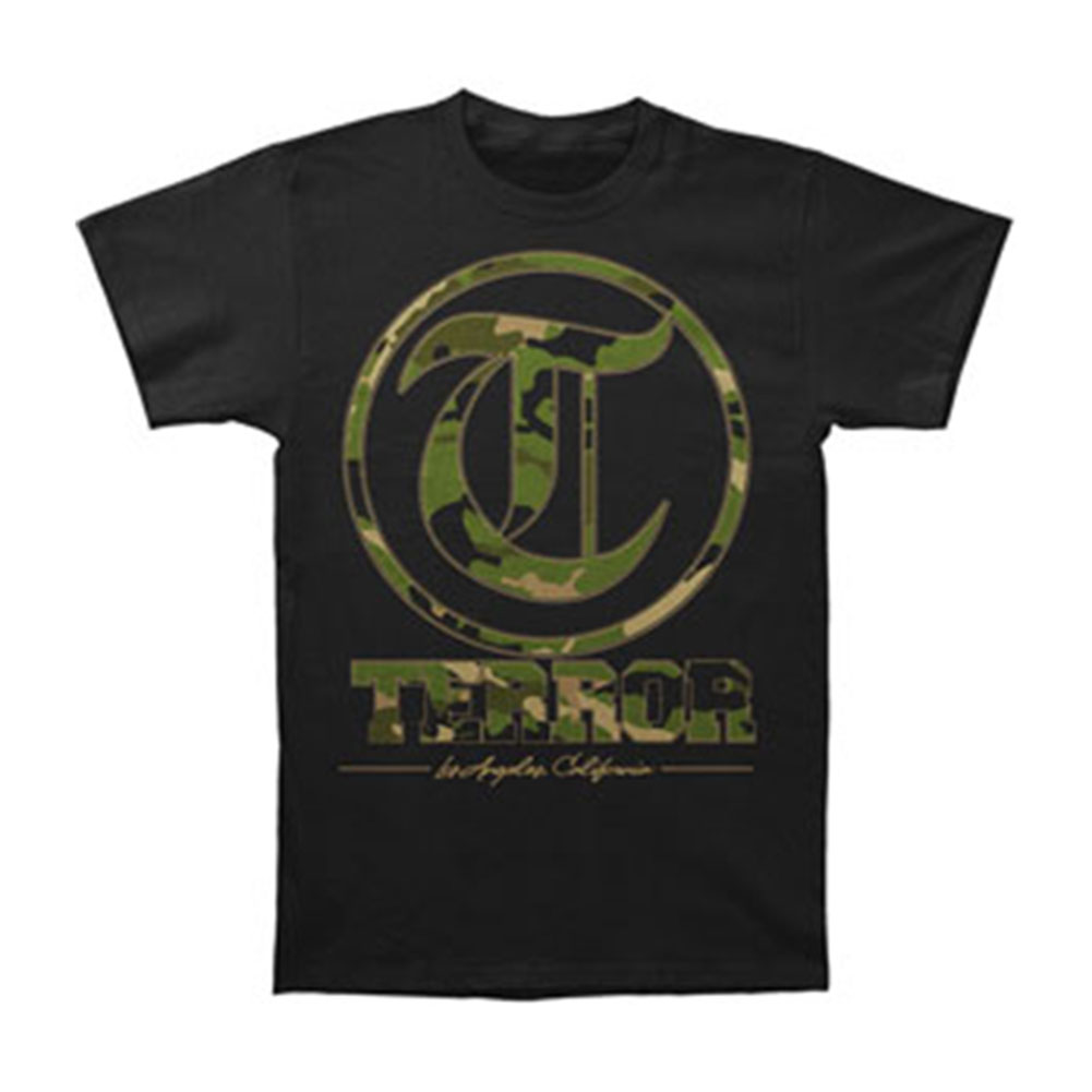 Terror Men's  Camo Black T-shirt Black