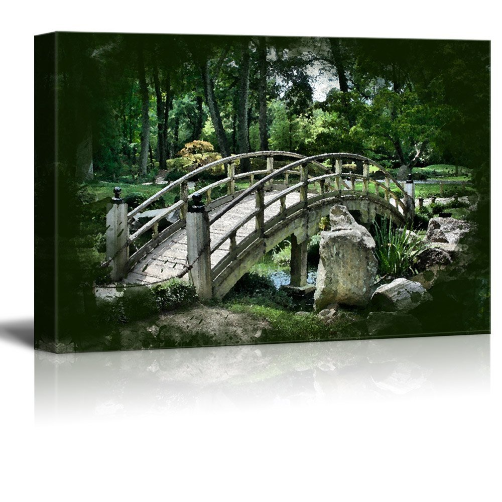 wall26 - Canvas Print Landscape Wall Art - Vintage Oriental Stone Bridge and Garden - Gallery Wrap Modern Home Decor | Ready to Hang -32x48 inches