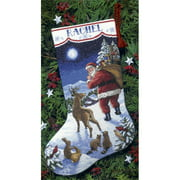 """Santa's Arrival Stocking Counted Cross-Stitch Kit, 16"""""""