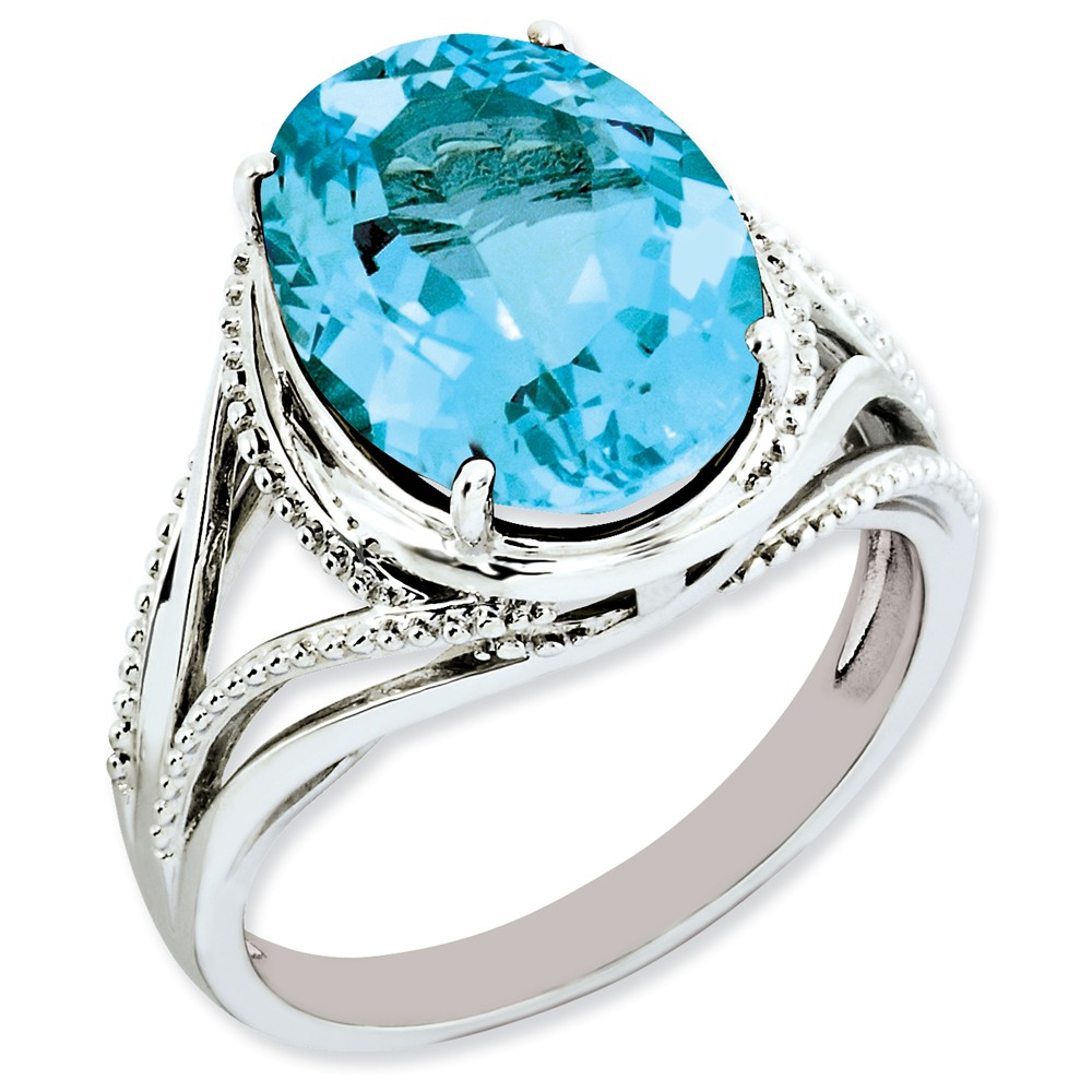 925 Sterling Silver Prong Set Oval Beaded Accent Blue Topaz Ring by