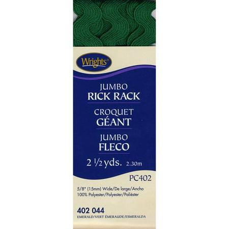 "Wrights 5/8"" Jumbo Emerald Rick Rack Trimming, 2.5 Yd."