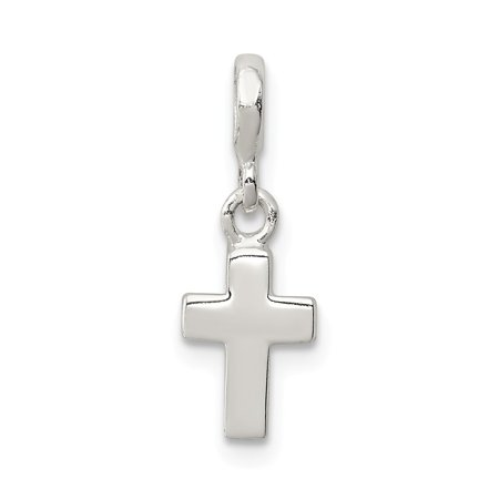 Cross Pendant Enhancer - Solid 925 Sterling Silver Polished Cross Enhancer Pendant (Length:21mm|Width:8mm)