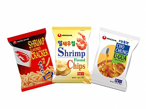 Nongshim Assorted Snack Pack Spicy Shrimp, Shrimp Snack, Rice Snack 3 Pack by Nongshim