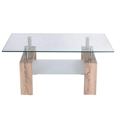 Gymax Home Furniture Rectangular Glass Coffee Table Wood Shelf ()
