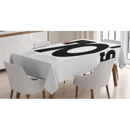 70s Party Decorations Tablecloth, Love The Seventies Theme Stylized Letters and Heart Sign Oldies, Rectangular Table Cover for Dining Room Kitchen, 52 X 70 Inches, Red Black White, by Ambesonne for $<!---->