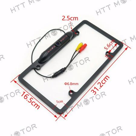 HTTMT- HD Color CMOS Car License Plate Frame Mount Rear View Backup Camera 8 IR LED