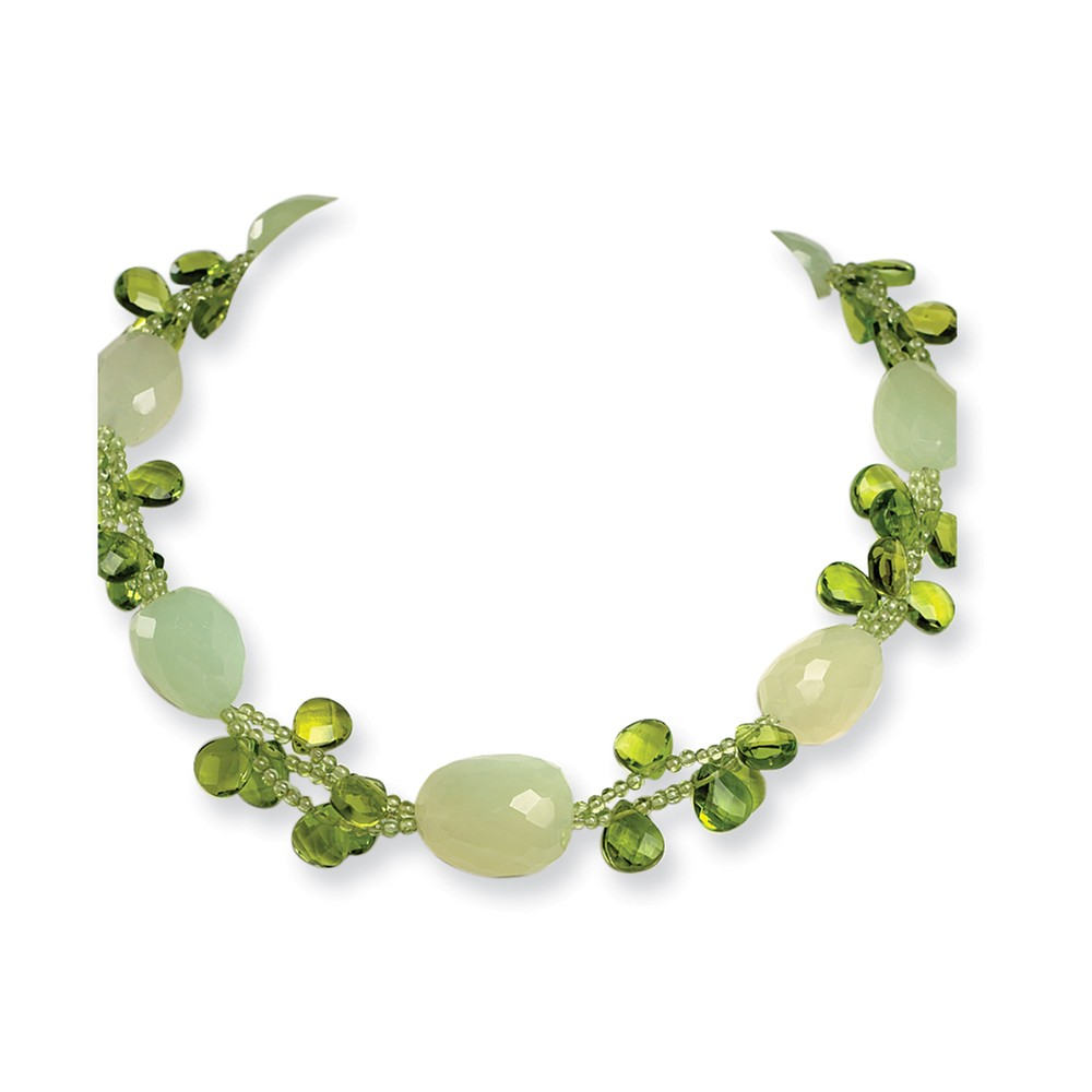Sterling Silver 17in Green Jade/Green Crystal/Peridot Necklace