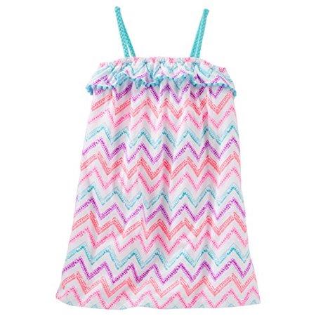 OshKosh Little Girls' Printed Chevron Pom-Pom Ruffle Dress - Pom Pom Girl Dress Up