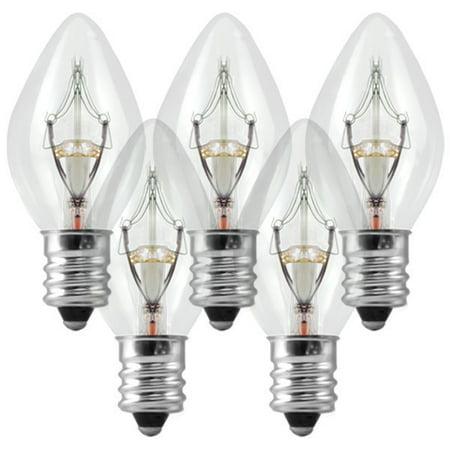25 pack c7 clear 5 watt christmas light replacement bulbs candelabra