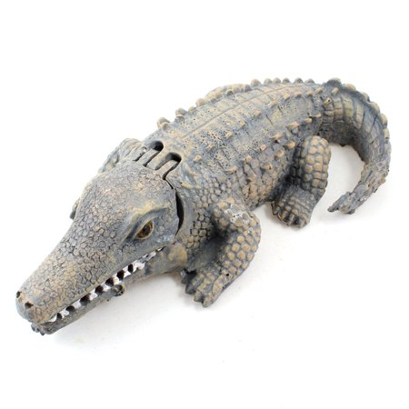 Alligator Aquarium (Gray Beige Aquarium Fish Bowl Ornament Simulation Aquatic Alligator 23cm Long )