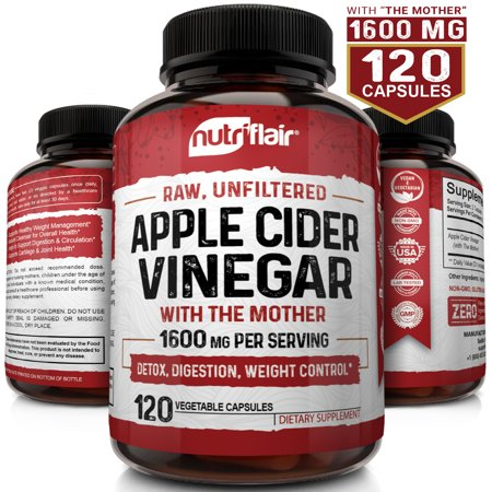Nutriflair apple cider vinegar capsules 1300mg - 120 vegan acv pills - best supplement for healthy weight