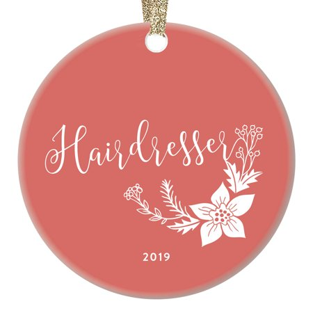 Hairdresser Christmas Ornament Gift Idea Dated 2019 Thank You Favorite Professional Hair Stylist Holiday Present Salon Beautician Keepsake Coral Pink Shabby Chic 3