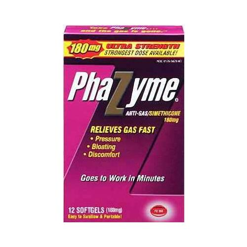 6 Pack - Phazyme 180mg Anti-gas Simethicone 12 Softgels Each