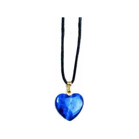 Necklace-Sodalite Heart-31  Adj Blk Cord