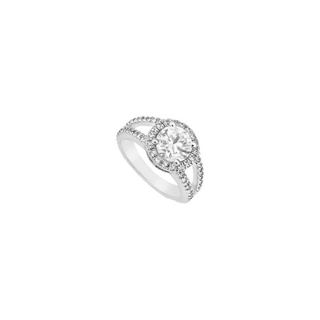 Jewelry Halo Engagement Ring in 14K White Gold Triple AAA Quality CZ of 1.50 Carat Total Gem Weight - image 1 de 1