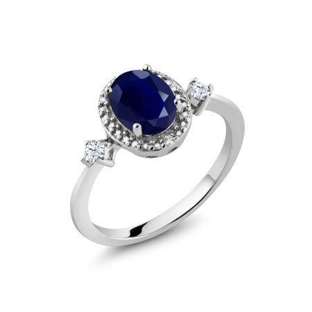 1.90 Ct Oval Blue Sapphire White Created Sapphire 925 Sterling Silver Ring - image 3 of 3