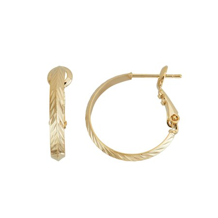 High Polished Rose Gold Plated 30mm Diamond Cut Knife Edge Hoop - Rose Gold Plated Edges