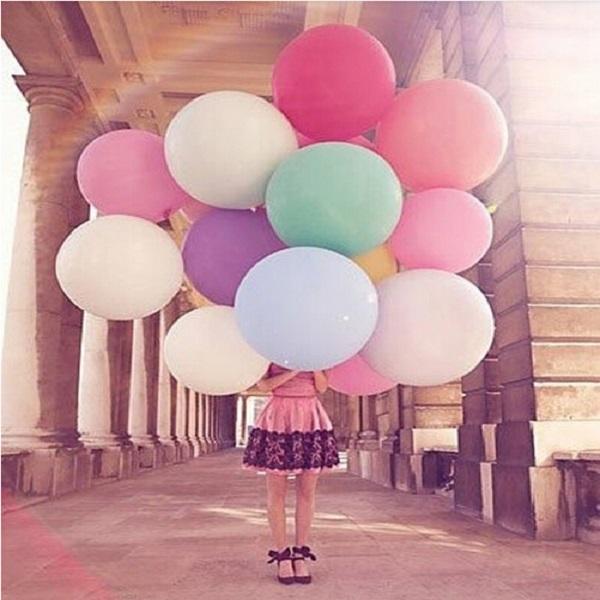 "36"" Birthday Princess Balloon, Latex Birthday Wedding Party Jumbo Latex Evening Helium Decoration Giant Huge Pearl"