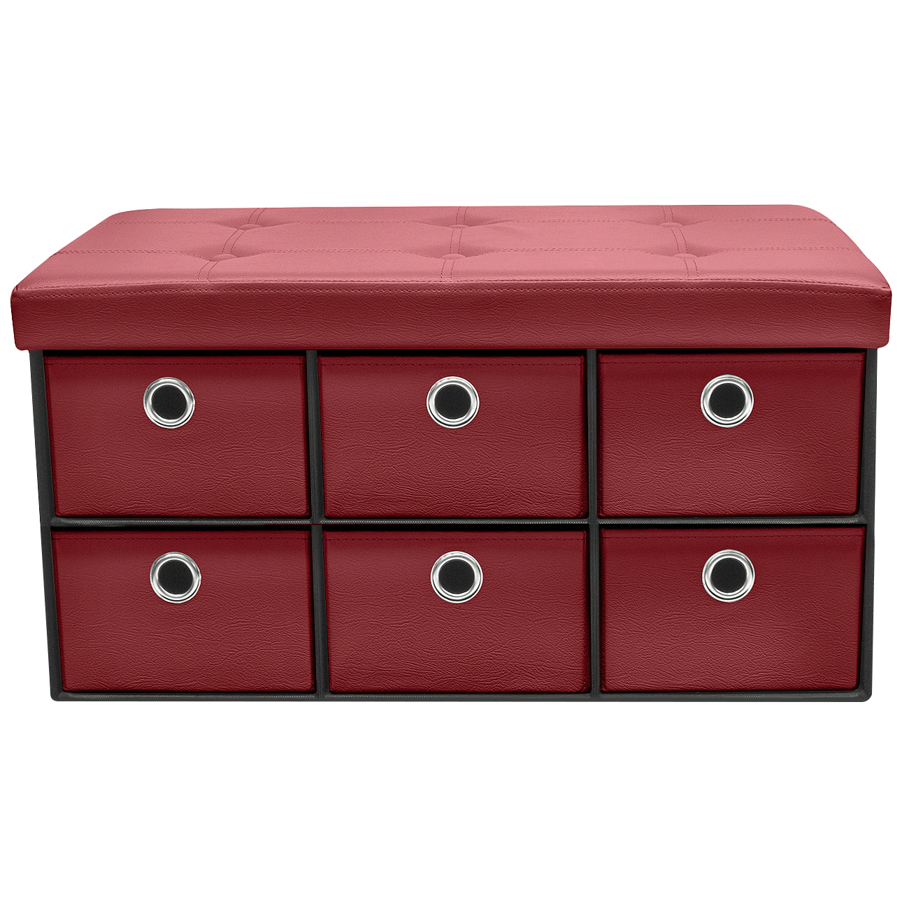 Sorbus Storage Bench Chest With Drawers Collapsible Folding Bench Ottoman With Cover Perfect For Entryway Bedroom Cubby Drawer Footstool Etc Contemporary Faux Linen Faux Leather Chocolate Walmart Com Walmart Com