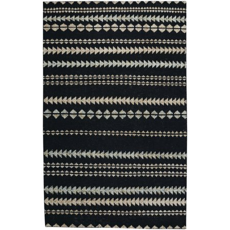 Hand Knotted Stripes (Capel Rugs Genevieve Gorder Scandinavian Stripe Rectangle Hand Knotted Area Rug - Ebony Beige - 5' x 8')