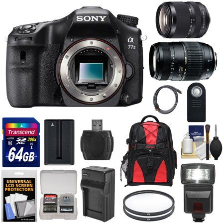 Sony Alpha A77 II Wi-Fi Digital SLR Camera Body with 18-135mm & 70-300mm Lenses + 64GB Card + Battery +... by