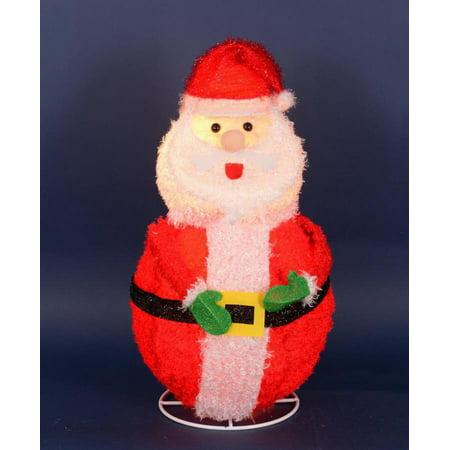 "24"" Lighted 3-D Chenille Jolly Santa Claus Outdoor ..."