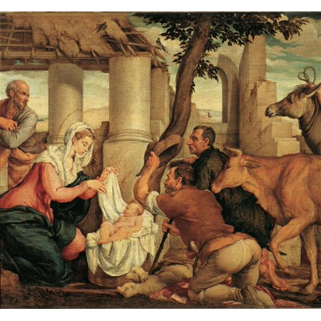 - Da Ponte Jacopo Know As Bassano Adoration Of The Shepherds 1545 16Th Century Oil On Canvas Italy Veneto Venice Accademia Art Galleries Everett CollectionMondadori Portfolio Poster Print
