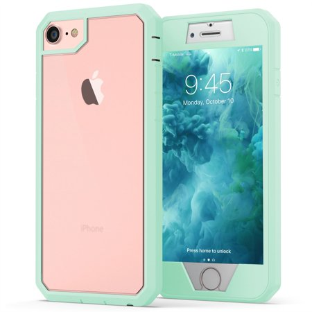 iPhone 7 Case, True Color Clear Frosted Back Heavy Duty Hybrid + 9H Tempered Glass 360° Full Body Protection [True Armor Series] - Mint