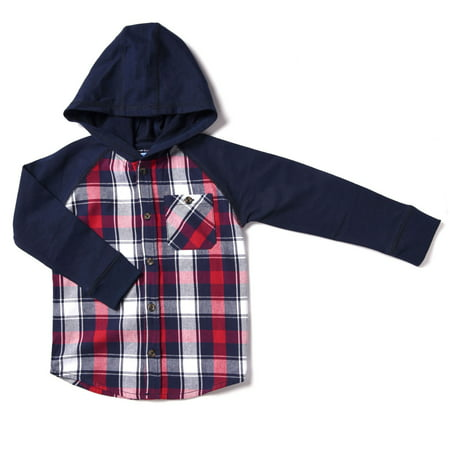 Baby Toddler Boy Hooded Plaid Flannel Shirt