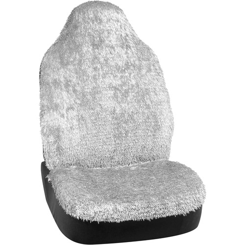 Bell Shiny Shaggy Seat Cover, Silver