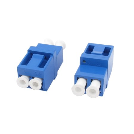 Unique Bargains 2 Pcs Blue Shell LC to LC Flanged Duplex Fiber Optic Connector Adapter
