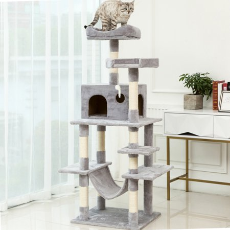 64 Inch Glass Tower Display - Cat Tree for Large Cats, NICEPET 64