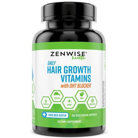 Zenwise Health Hair Growth Vitamins with Biotin and DHT Blocker Vegetarian Capsules, 60