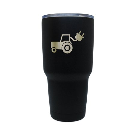 Electric Tractor Black Stainless Steel Tumbler  30 Oz Insulated Tumbler  Laser Etched In Usa