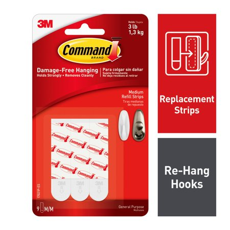 Command Replacement Mounting Strips, White, Medium, 9 -