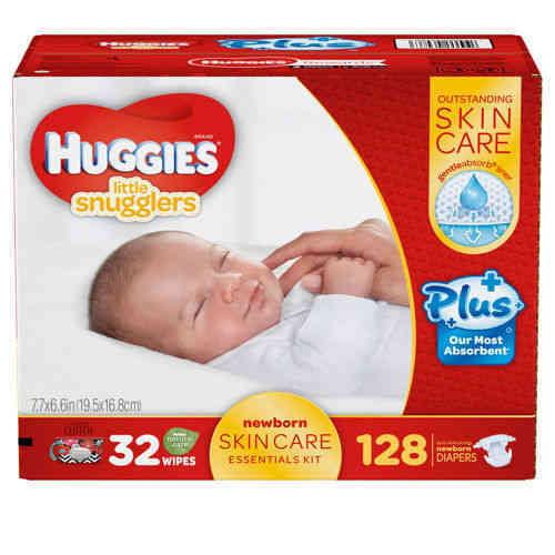 Huggies Little Snugglers Plus 128 ct Diapers New Born Skin Care Essentials Kit by HUGGIES