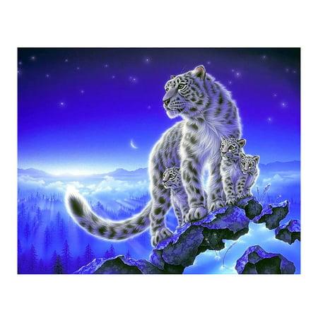 Fancyleo DIY 5D Diamond Painting Rhinestone Cute Tiger Embroidery Cross Stitch Wall Decor