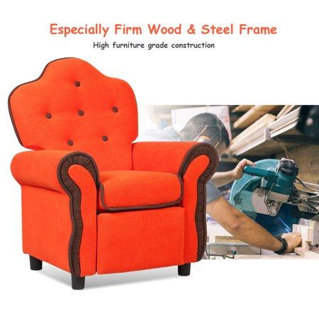Children Recliner Kids Sofa Chair Couch Living Room Furniture Orange - image 4 de 9