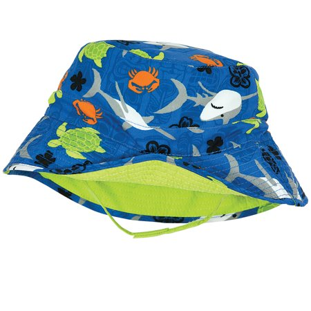 Reversible Brim Beanie (Sun Smarties Sealife Adjustable and Reversible Baby Boy Sun Hat - Sealife Print Reverses to a Solid Lime Green Brim Hat  - UPF 50+ Protected)